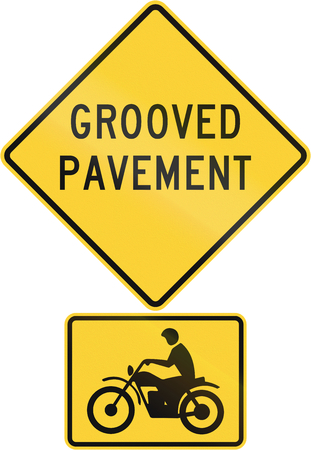 grooved: United States MUTCD road warning sign assembly. Stock Photo