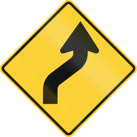 roadworks: Temporary road control version - Double curve. Stock Photo