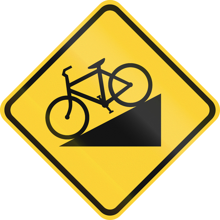 steep: United States MUTCD road sign - Steep descent for bicycles. Stock Photo