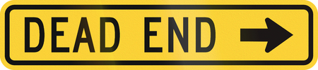 dead end: United States MUTCD warning road sign - Dead end.