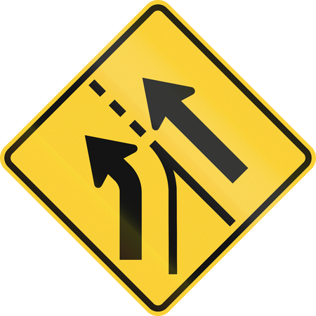 roadworks: United States MUTCD road sign - Intersection with merge.