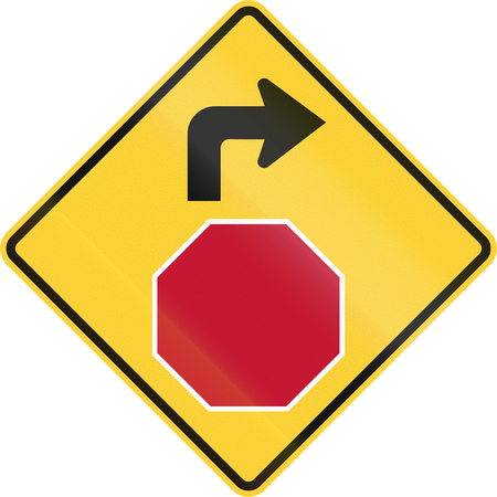 compliant: United States non-MUTCD-compliant road sign - Stop ahead.