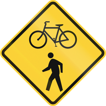 cycles: United States MUTCD road sign - Cycles and pedestrians.