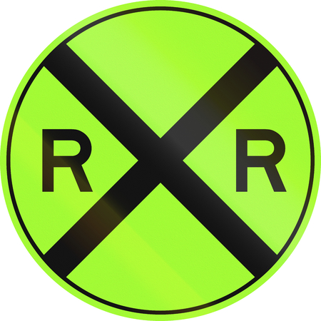 railroad crossing: United States MUTCD non-compliant road sign - Railroad crossing.
