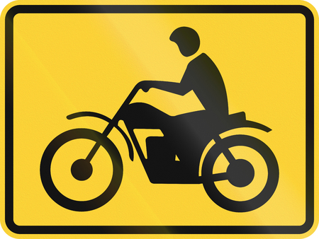 roadworks: United States MUTCD road sign - Motorcycles. Stock Photo