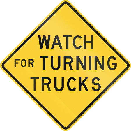 quadratic: Road sign used in the US state of Nebraska - Watch for turning trucks. Stock Photo
