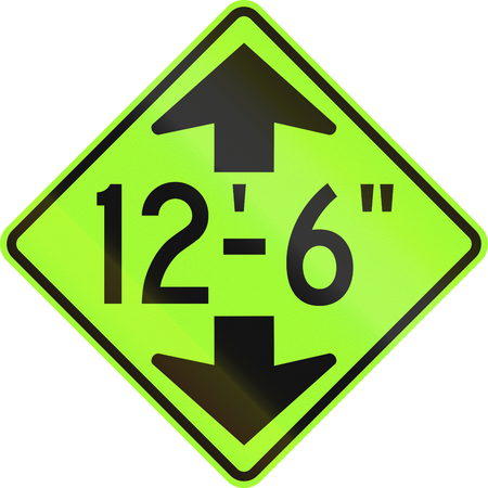 compliant: United States MUTCD road sign - Height limit ahead.