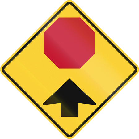 danger ahead: United States non-MUTCD-compliant road sign - Stop ahead.