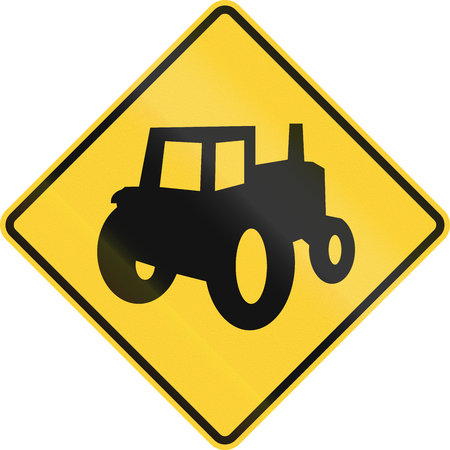 tractor warning sign: United States MUTCD road sign - Tractor. Stock Photo