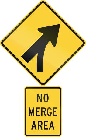 road warning sign: United States MUTCD road warning sign assembly. Stock Photo