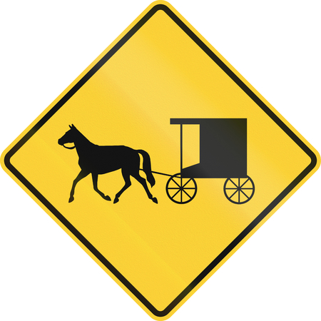quadratic: United States MUTCD warning road sign - Horse-drawn carriage crossing.
