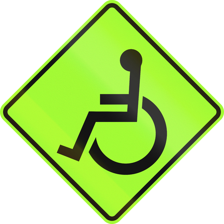 physically: Disabled persons warning road sign used in the US. Stock Photo