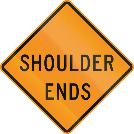 the ends: United States MUTCD road sign - Shoulder ends. Stock Photo