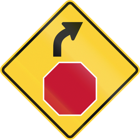 road ahead: United States non-MUTCD-compliant road sign - Stop ahead.
