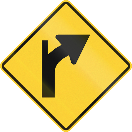turn yellow: United States MUTCD warning road sign - Intersection in curve. Stock Photo