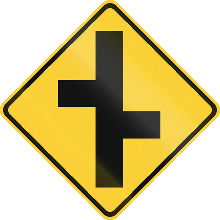 offset: United States MUTCD warning road sign - Offset roads. Stock Photo