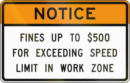exceed: Road sign used in the US state of Virginia - Notice on fines.