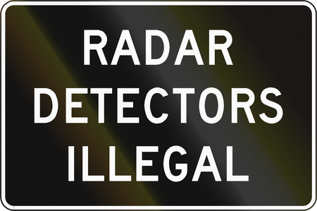 Road sign used in the US state of Virginia - Radar detectors illegal. Stock Photo