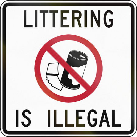 illegal: Road sign used in the US state of Virginia - Littering is illegal.