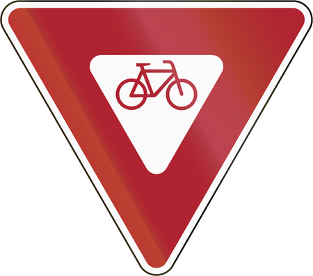 United states road sign - Cyclists Must Yield.