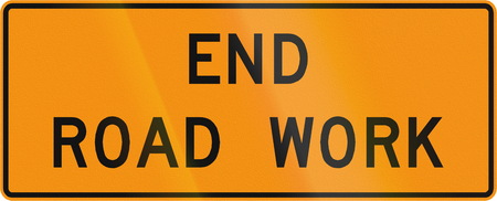 end of road: Road sign used in the US state of Virginia - End road work.