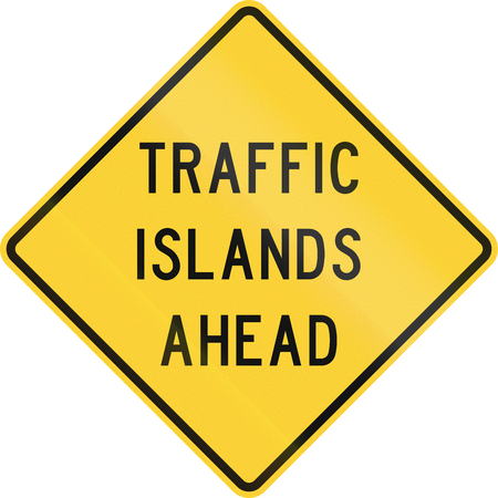danger ahead: Road sign used in the US state of Texas - Traffic islands ahead.