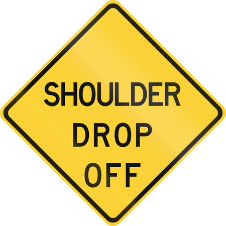 off shoulder: Road sign used in the US state of Texas - Shoulder drop off. Stock Photo