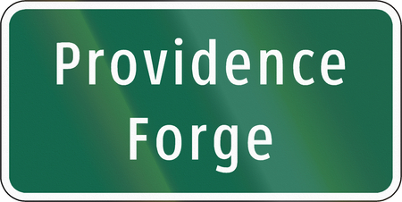 informational: Road sign used in the US state of Virginia - Providence forge.
