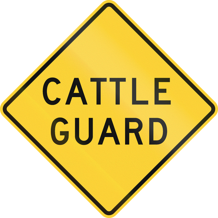 cattle guard: Road sign used in the US state of Texas - Cattle guard. Stock Photo