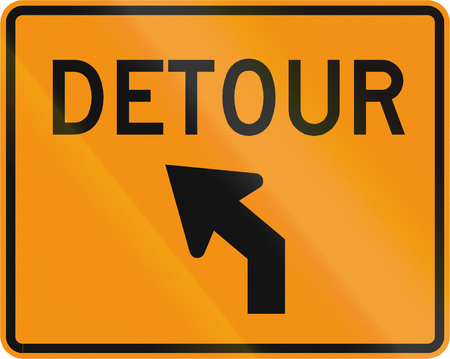 deviation: Road sign used in the US state of Virginia - Detour direction. Stock Photo