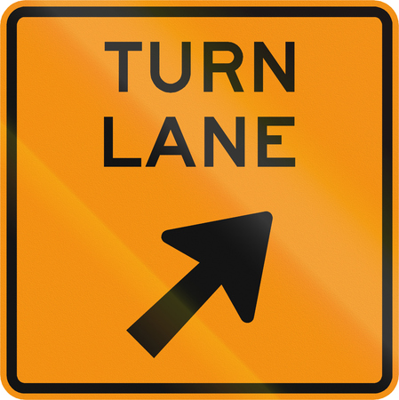 roadworks: Road sign used in the US state of Virginia - Turn lane.