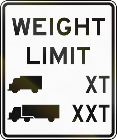 x mass: Road sign used in the US state of Virginia - Truck weight limit. Stock Photo