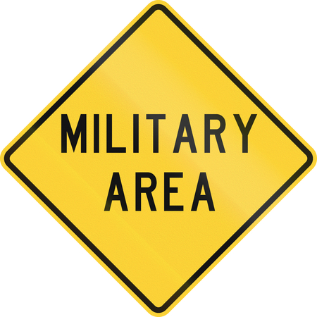 us military: Road sign used in the US state of Texas - Military area.