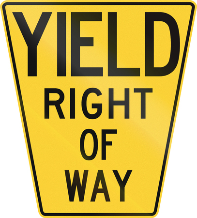 yield sign: Original version of the Yield Sign in the United States with the keystone shape as it first appeared in 1952.