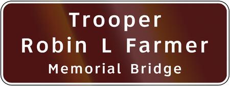 trooper: Road sign used in the US state of Virginia - Trooper Robin L Farmer Memorial Bridge. Stock Photo