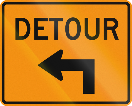 detour: Road sign used in the US state of Virginia - Detour direction. Stock Photo