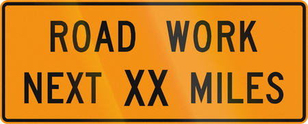 Road sign used in the US state of Virginia - Road work next XX miles.
