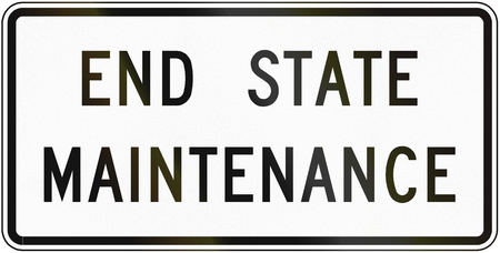 end of the road: Road sign used in the US state of Virginia - End state maintenance. Stock Photo