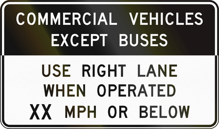use regulation: Road sign used in the US state of Virginia - Commercial vehicles except buses. Stock Photo