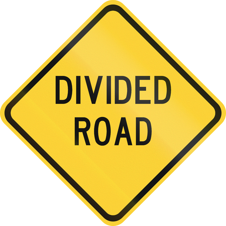 median: Road sign used in the US state of Texas - Divided road. Stock Photo