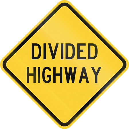 the divided: Road sign used in the US state of Texas - Divided highway.