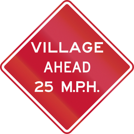 advisory: Traffic sign in the United States warning of village ahead with an advisory speed. Stock Photo