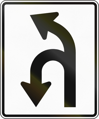 u turn: Road sign used in the US state of Virginia - Allowed turns. Stock Photo