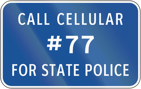 police state: Road sign used in the US state of Virginia - State police number.