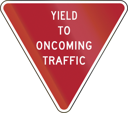 opposing: Yield To Oncoming Traffic sign in the United States. Stock Photo