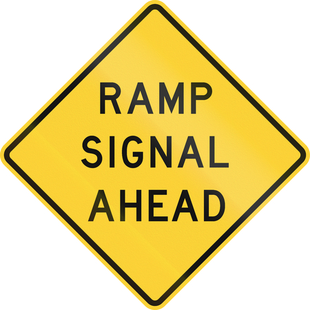 ramp: Road sign used in the US state of Texas - Ramp signal ahead. Stock Photo