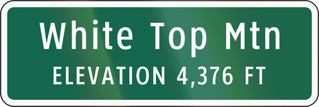 top of mountain: Road sign used in the US state of Virginia - White top mountain. Stock Photo