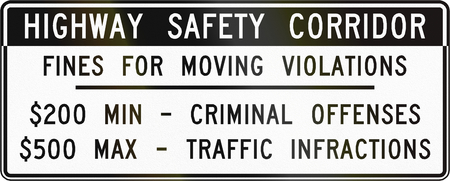 Road sign used in the US state of Virginia - Fines for moving violations. Stock Photo