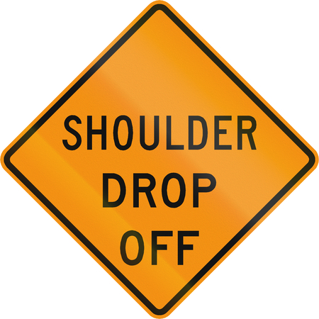drop off: Road sign used in the US state of Virginia - Shoulder drop off.