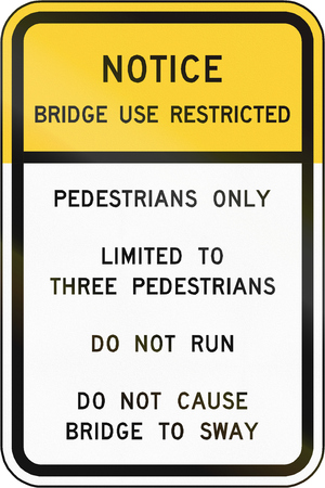sway: Road sign used in the US state of Virginia - Bridge use restricted. Stock Photo